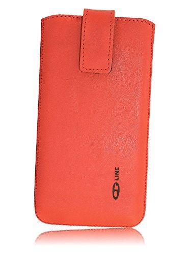 OrLine Handytasche passend für Lenovo Moto X. Elegant Ledertasche Tasche Echtleder Leder-Hülle (Lasche mit Rückzugfunktion Ausziehhilfe Klettverschluss befestigt) Schutzhülle Hülle