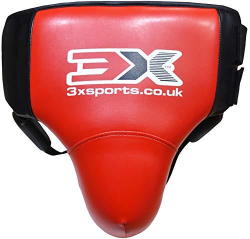 3X Professional Choice Tiefschutz Muay Thai Kickboxen Krav MAGA MMA Abdo Gear Bauchschutz Martial Arts Cup Sparring Jock Strap (Abdominal Red, S/M)
