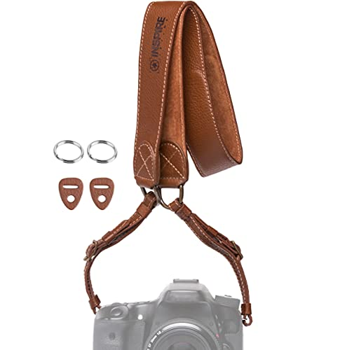 Inspire in Time Camera Neck Strap - Genuine Leather Adjustable Straps Universal Interfaces Mirrorless DSLR Cameras, Nikon, Canon, Sony, Olympus, Panasonic, Fuji & More, Brown