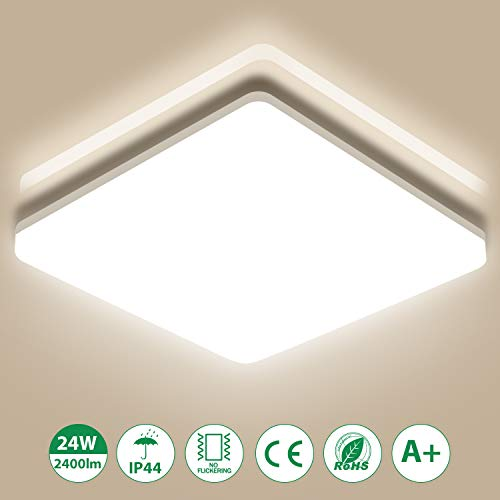 LED Deckenleuchte Badleuchte, 24W 2400lm, Oeegoo Badezimmerlampe IP44 Deckenlampe Bürodeckenleuchte Für Bad Balkon Wohnzimmer Schlafzimmer 33 * 33 * 4.8/CM 4000K