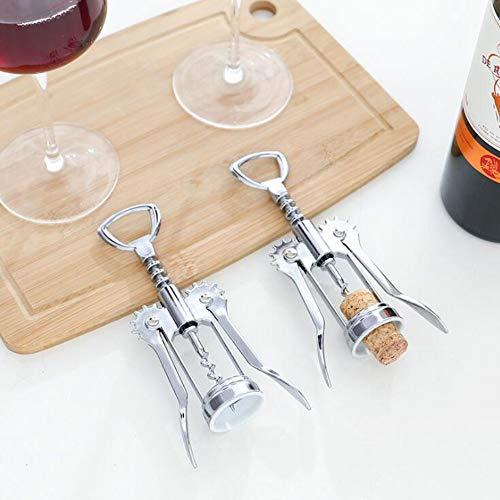 Sacacorchos de vino y abridor de botellas, sacacorchos de ala 2 en 1, sacacorchos multifuncional Abridor de corcho de vino Removedor de botellas para el hogar, la cocina, el restaurante y los bares