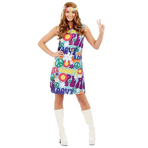 Fun Shack Blaues Hippie Kleid für Damen, 70er Jahre Kostüm Erwachsene, Faschingskostüm Damen - L