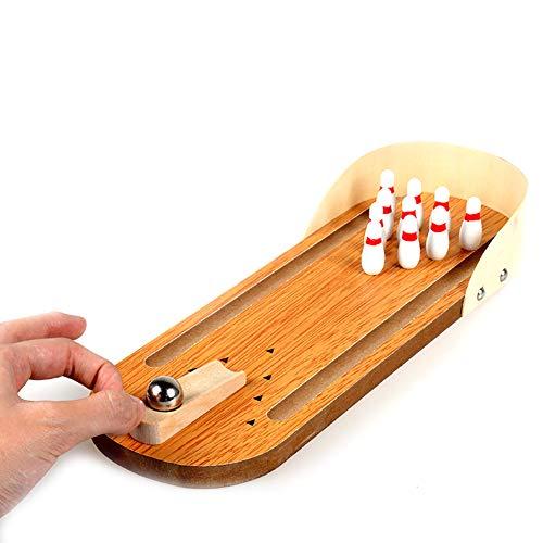 Hilai Bois Mini Bowling Jouets de Bureau Jouets Enfants et Adultes Creative Casual Conseil Décompression Jeu Cadeau, 1Régler