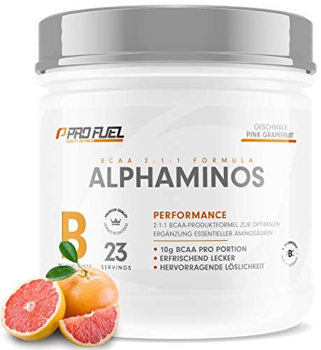 ALPHAMINOS | TESTSIEGER BCAA Pulver 2:1:1 | Das ORIGINAL von ProFuel | Essentielle Aminosäuren | Unfassbar leckerer Geschmack (Grapefruit)