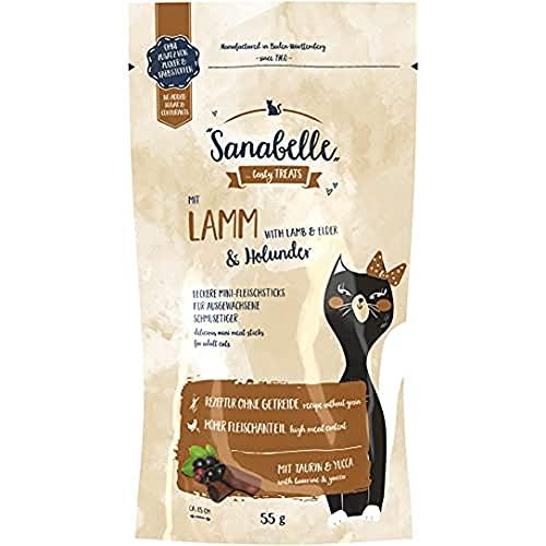 Sanabelle Snack Agneau et Sureau | Délicieux mini bâtonnets de viande pour chats adultes | 20 x 55 g