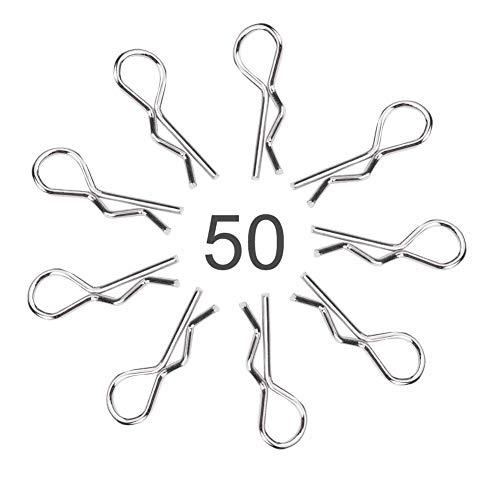 Dilwe 50 Stücke RC Auto Body Clip Pins, Edelstahl R Typ Körper Clip Pin für 1/10 1/12 1/16 Skala Fernbedienung Auto Shell