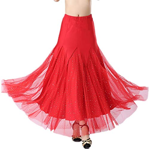 Fhxr Adult Halflange Rode Sterren Rok Melk Zijde Moderne Dans Vriendschap Grote Swing Rok Waltz Dance Nationale Standaard Dans Kleding