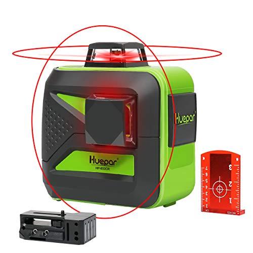 Huepar 602CR 2 x 360 kruislijnlaser rood, 360 graden lijnlaser zelfnivellerend laser niveau met pulsfunctie, 20 m werkbereik, (incl. universele lithiumbatterij, AA batterij en houder)