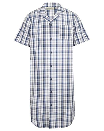 Walker Reid Cotton Check Short Sleeve Nightshirt WR2810 Blue 3XL