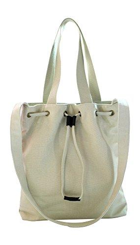 Kronya® | Elegante bolsa de tela | Embrague Bolso de mujer Bolso de mano mochila de compras bandolera (Beige)