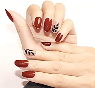 GGSELL 24Pcs Artificial Flase Nails with Glue Charming Fake False Nails Tips Wine Red Pointed Head Full Cover Nail Tips Long Style Nude
