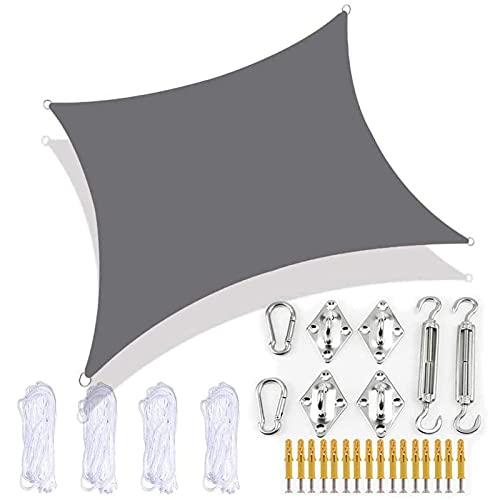 ZQKJLH Parasol Rectangular Toldo de Vela para Exteriores, Impermeable, para Fiestas, Protector Solar, toldo, 98%, Bloque UV, jardín, Playa, Patio, toldo con Kit de fijación