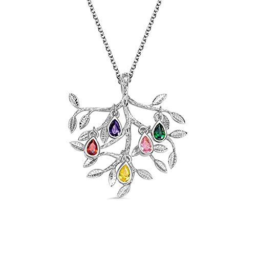 Lakabara 925 collar de plata de ley para mujer 1-5 collar de árbol familiar de piedra de nacimiento joyería regalo de cumpleaños collar de árbol de la vida