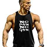 Befox Herren Cotton Tank Top Stringer Fitness Gym Shirt NO Pain NO GAIN Weste Muscleshirt Sport Vest