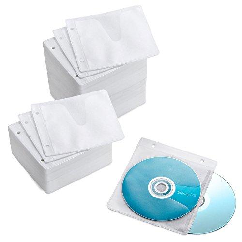 サンワダイレクト 不織布ケース Blu-ray対応 DVD CD 対応 300枚入 リング2穴 両面収納 ホワイト 202-FCD049-300W