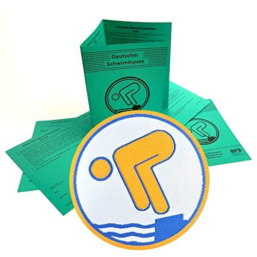 2er Set 1 x Deutscher Schwimmpass mit 1 x Gold Abzeichen zum aufbügeln I Schwimmabzeichen für Kinder und Erwachsene I offizielle Urkunde in grün inkl. DOSB-Bestätigung aktuelle Version 2021