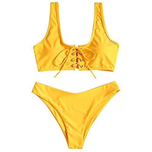 ZAFUL Damen Schnürung Sport Bikini mit U-Ausschnitt Sommer Beachwear Badeanzug Swimwear(Helles Gelb S)