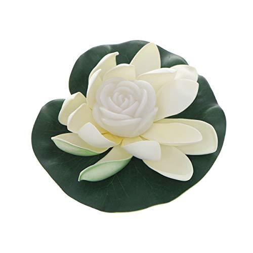 OSALADI Lotus Laterne Schwimmende Lotusblüte LED Lotus Licht Schwimmkerzen Künstliche Weiß Lotusblume 18cm Buddhistische Lampe Garten Terrasse Aquarium Pool Fluss Party Festival Dekoration