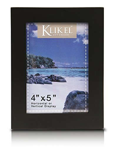 Klikel 4x5 Picture Frame Black - 5x4 Wooden Photo Frame - Made of Real Wood With Glass Photo Protection - Ready For Wall Hanging And Table Standing Display