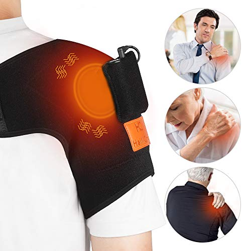 Wireless Shoulder Massager with Heat Massaging Heating Shoulder Therapy Wrap Heated Shoulder BraceVibration Heated Shoulder Wrap for Muscle Pain Relief Frozen Shoulder Powered by Portable Charger