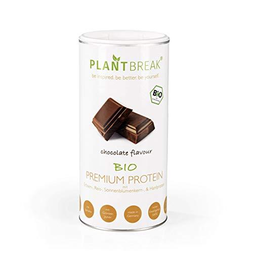 PLANTBREAK® Bio Premium Protein mit Erbsen-, Reis-, Sonnenblumenkern- und Hanfprotein | Schokolade| 500g