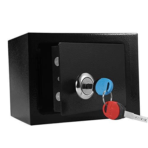 Caja fuerte de seguridad, caja fuerte pequeña Caja fuerte duradera de acero de alta seguridad Caja fuerte con llave Almacenamiento de dinero en efectivo Oficina en casa Para el hogar