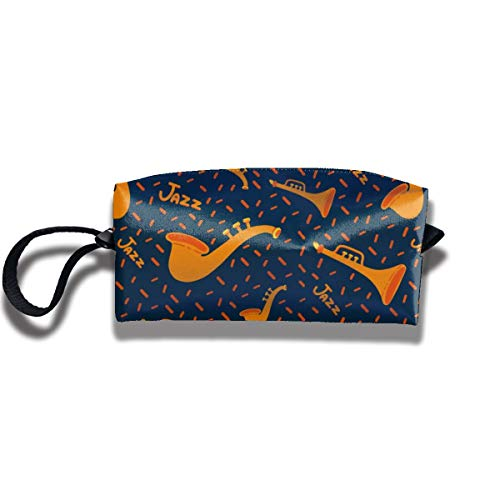 Bbhappiness Pouch Handbag Cosmetics Bag Case Purse Travel & Home Portable Make-up Receive Bag Jazz Pattern