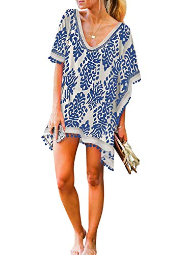 HOTAPEI Women's V Neck Printed Swimsuit Cover Ups Pom Pom Tassel Bikini Bathing Suit Beach Dress for Swimwear Blue Size Small