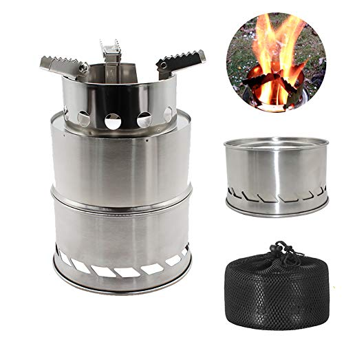 Youqee Folding Windproof Wood Stove Stainless Steel Outdoor Camping Stove for Hiking Backpacking Picnic BBQ Stove