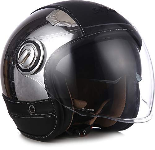 "SOXON® SP-888 Pro ""Urban Chrome"" · Jet-Helm · Motorrad-Helm Roller-Helm Scooter-Helm Moped Mofa-Helm Chopper · ECE 22.05 Sonnenvisier Leather-Design Schnellverschluss SlimShell Tasche XS (53-54cm)"