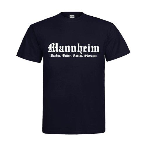 MDMA T-Shirt Mannheim Harder, Better, Faster, Stronger mdma-t00326-19 Textil Navy/Motiv Weiss Gr. XL