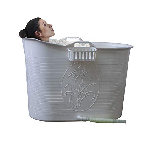 EKEO - Mobile Badewanne für Erwachsene Weiß - Ideal für das kleines Badezimmer - Hüftbad - Badewanne - Stylisch und Stimmungsvoll