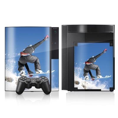 DeinDesign Skin kompatibel mit Sony Playstation 3 PS3 Aufkleber Folie Sticker Snowboard Sprung Wintersport