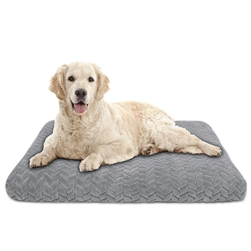 AIPERRO Dog Bed Crate Pad with Removable Washable Cover, Non Slip Orthopedic Plush Pet Sleeping Mattress Thick Soft Cotton Kennel Cushion Mat (L-40' 27', Grey)