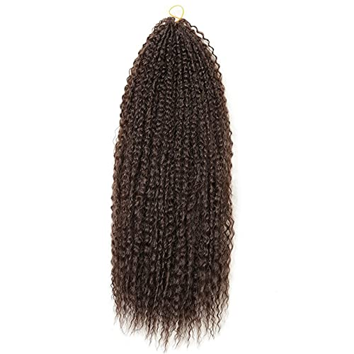 Accesorio de belleza 20-28 pulgadas Afro Kinky Curly Crochet Crochet Braids Cabello Extensiones de cabello Pelo para mujer Cabello Marrón para mujer niña ( Bulk Buy : 12Pcs/Lot , Color : D 20inches )