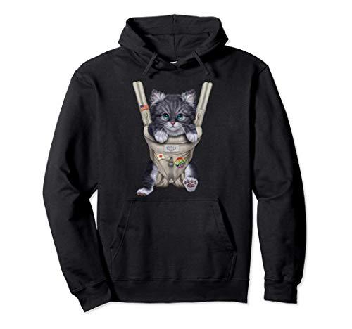 Gato gris en portabebé Sudadera con Capucha