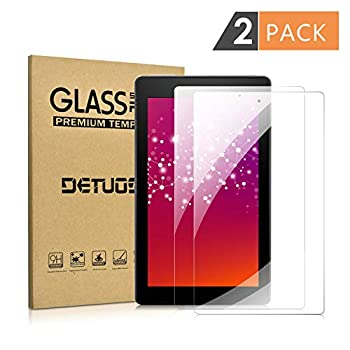 [2 PACK] Screen Protector for Amazon Fire 7  9th/7th Generation 2019/2017 Release  DETUOSI All-New Kindle Fire 7 inch Tablet Tempered Glass Film [Anti-Fingerprint] [Bubble Free] [Anti-Scratch]