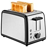 Toaster 2 Slice,Stainless Steel Toasters with 7 Bread Shade Settings, Defrost/Reheat/Cancel Function, Compact LED Display with Removable Crumb Tray