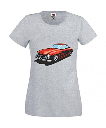 Camiseta con texto en inglés 'Rotes Hot Rod Sportwagen Oldtimer Young Timer America Amy USA Auto Car Breitbau V8 V12 Motor Llanta Tuning Mustang Cobra para hombre mujer niños 104-5XL' gris Mujer Gr.: X-Small