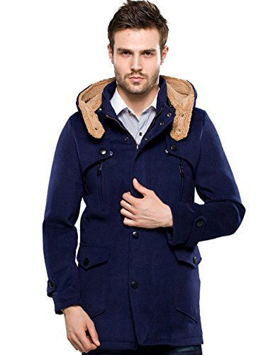 SSLR Men's Stylish Warm Winter Hooded Wool Pea Coat (Medium, Blue)