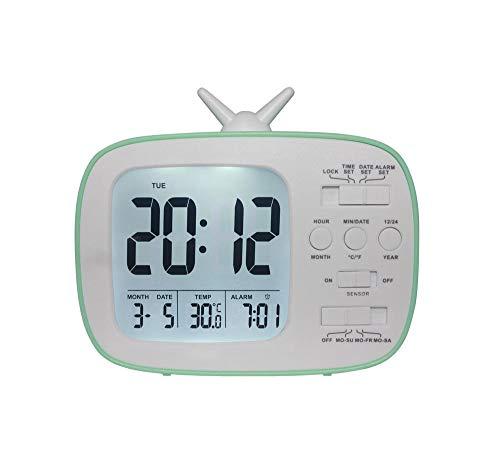 ANCLOK LED tv-wekker elektronisch desktop smart snooze temperatuur digitale slaapkamer wekker nachtkastje Nixie kinderhorloge Groen