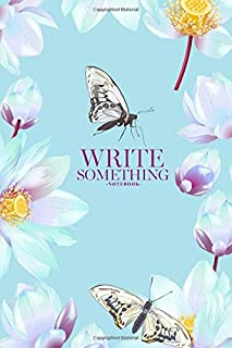 Notebook - Write something: White lotus and butterflies on blue notebook, Daily Journal, Composition Book Journal, College...