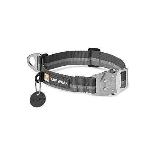 Ruffwear Hundehalsband mit Metall-Clip, Große bis sehr große Hunderassen, Größenverstellbar, Reflektorstreifen, Größe: L (51-66 cm), Grau (Twilight Grey), Top Rope Collar, 25502-025L