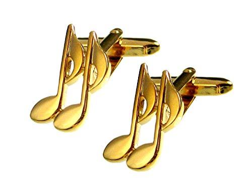 Unbekannt Musik Manschettenknöpfe Musiknoten vergoldet glänzend inkl. brauner Geschenkbox