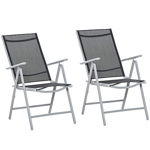 Outsunny 2er Set Gartenstühle Klappsessel aus Aluminium mit Armlehnen 8 Stufen verstellbare Hochlehne Texteline Schwarz