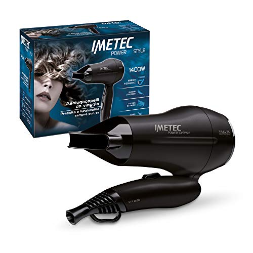 Imetec Power to Style Travel CT1 2000 Asciugacapelli da Viaggio, 1400 W, Doppio Voltaggio, Manico Pieghevole, Tasto Regolazione Aria Temperatura, Beccuccio Direzionabile, Custodia da Viaggio Inclusa