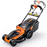 Lawn Mower, 11-Amp 16-Inch Electric Lawn Mower, 6 Mowing Heights, 16Gal Collect Box, No Assembly Required, Smart Folding in 5s--KALM1340A