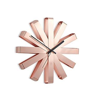Umbra Ribbon Wall Clock, Modern, Bent Metal Wall Clock, Copper Finish