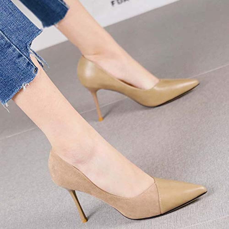 Pumps Joker Spitze Stiletto Heels Damen Temperament Wildleder Naht flachen Mund professionelle Schuhe, 39, Aprikose