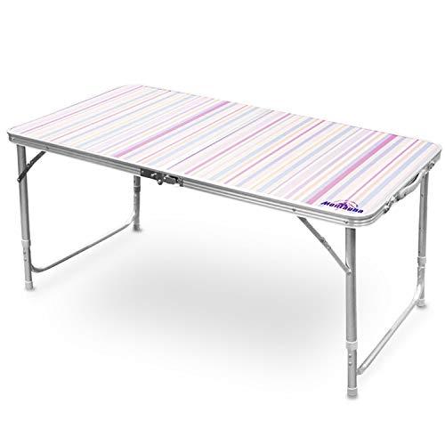 アウトレット アウトドアテーブル 120cm ストライプ柄 2〜4人用 折りたたみテーブル 高さ3段階調整 アルミテーブル レジャーテーブル ピクニックテーブル 軽量コンパクト キャンプテーブル バーベキュー お花見